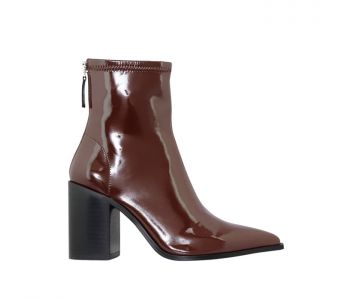 SAYLOR CHOCOLATE PATENT STRETCH LEATHER